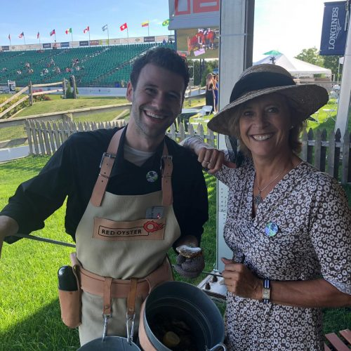 Our Founder juliette de Wilde together with a oyster shucker