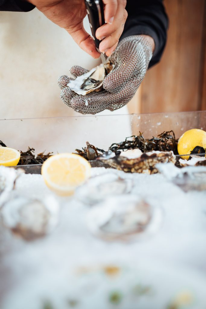 Opening oyster for our corporate guest in New Jersey